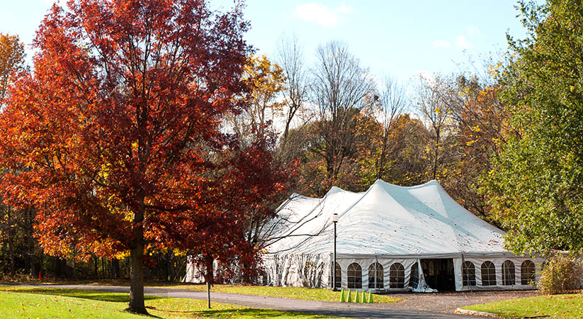 party tent set up in an autumn park