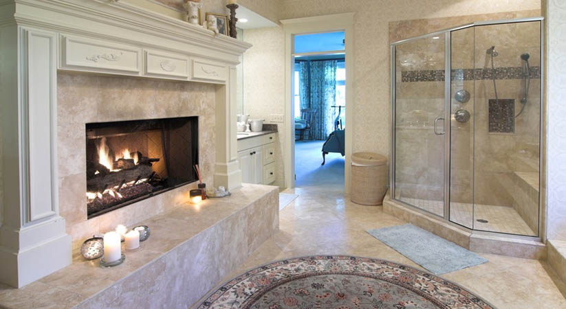 bathroom, inside, interior, home, house, opulent, extravagant, rich, expensive, lavish, fireplace, expensive, remodel, tile, decor, decorate, classic, classical, rug, suite, shower, glass, clean